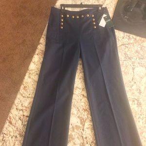 Ralph Lauren Gold Buttoned Front Navy Slacks 8